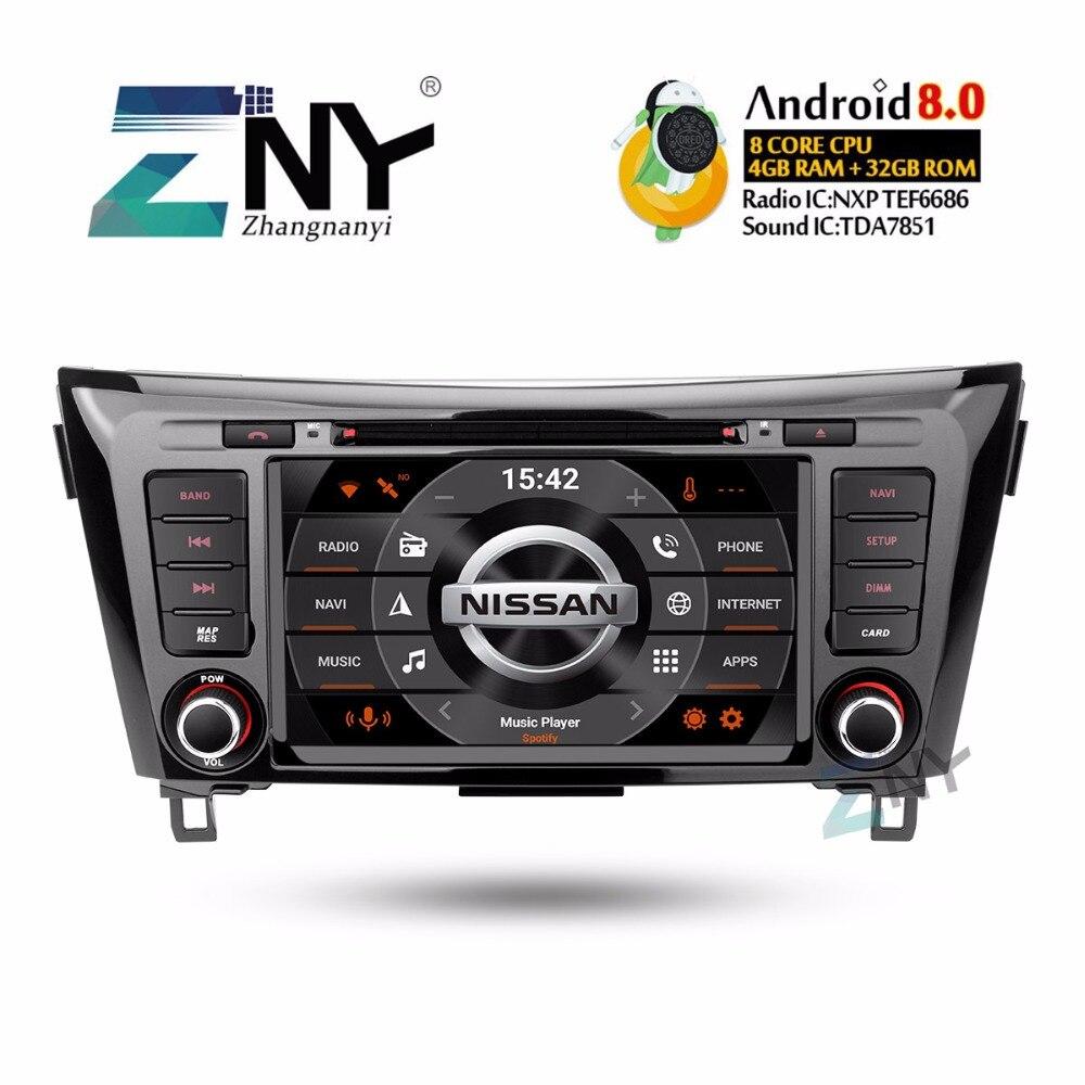 8 IPS 2 Din Autoradio Android 8.0 DVD Do Carro Para Nissan Qashqai X Trail-2014-2017 Multimedia FM Vídeo Navegação GPS Câmera Presente