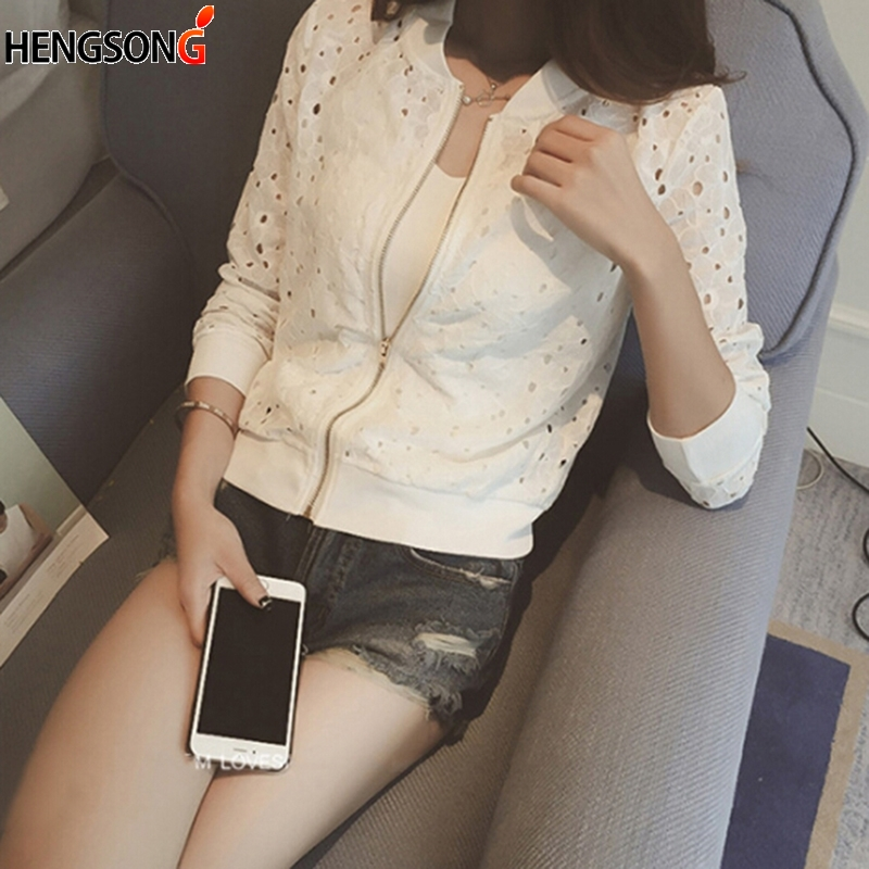 Women's Summer Thin Jacket Long Sleeve Sunscreen Women Clothing Coat Lace Hollow Out Breathable Bomber Jacket
