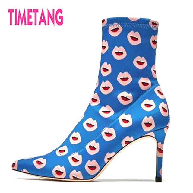 TIMETANG New Super Cool Hot Kiss Print Mouth Print Kiss Pointed Toe High Thin ... 51e4e0