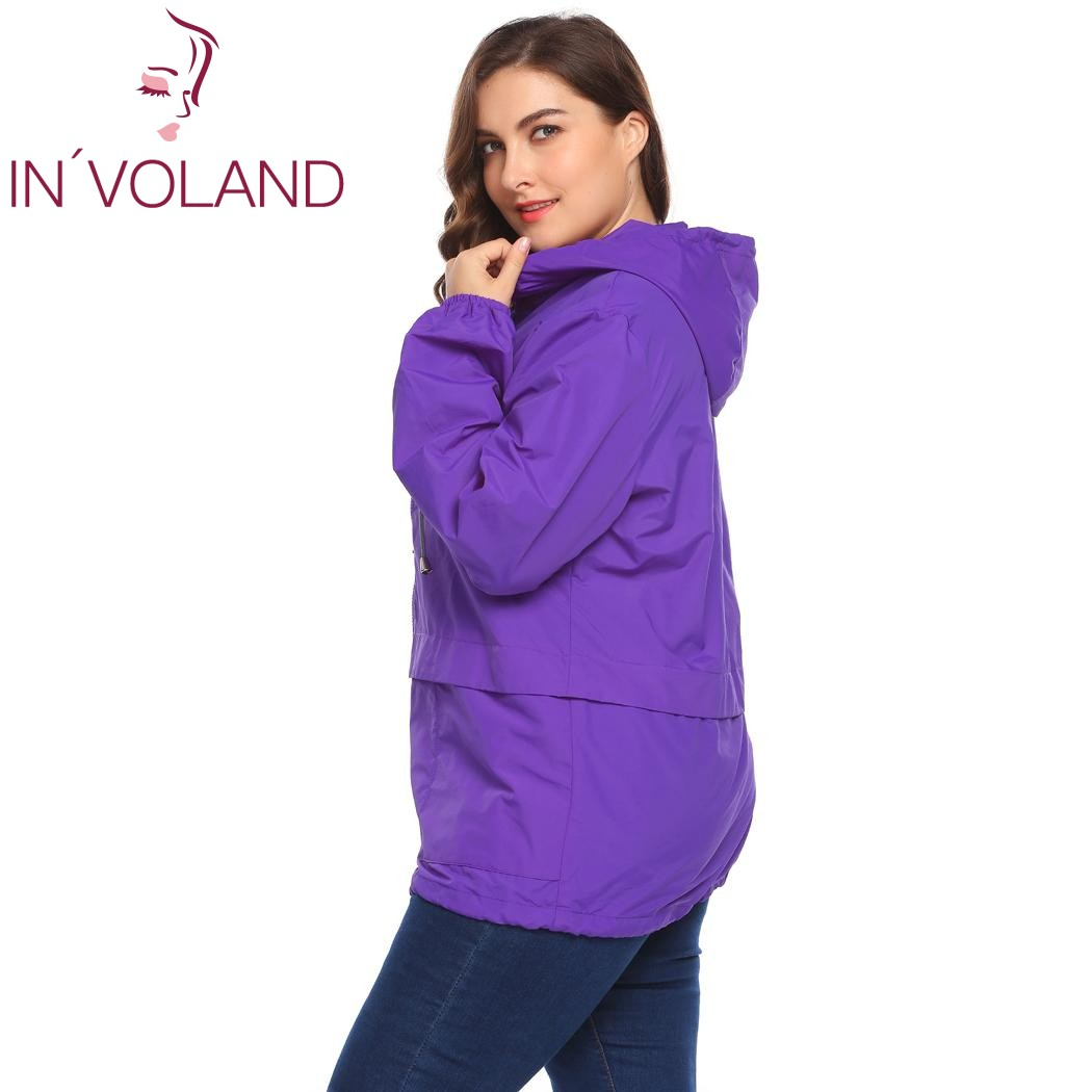 IN'VOLAND Plus Size Women's Jacket Rain Coat Windproof Full Zip Drawstring Solid Hooded Lace-up Large Overcoat Big Size XL-5XL 3