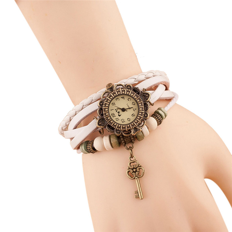 Fashion Leather Bracelet Watch Women Casual Dress Vintage Leaf Beads Wristwatch Luxury Quartz women Watch relogio feminino #C HTB1DQTzkljTBKNjSZFwq6AG4XXaW
