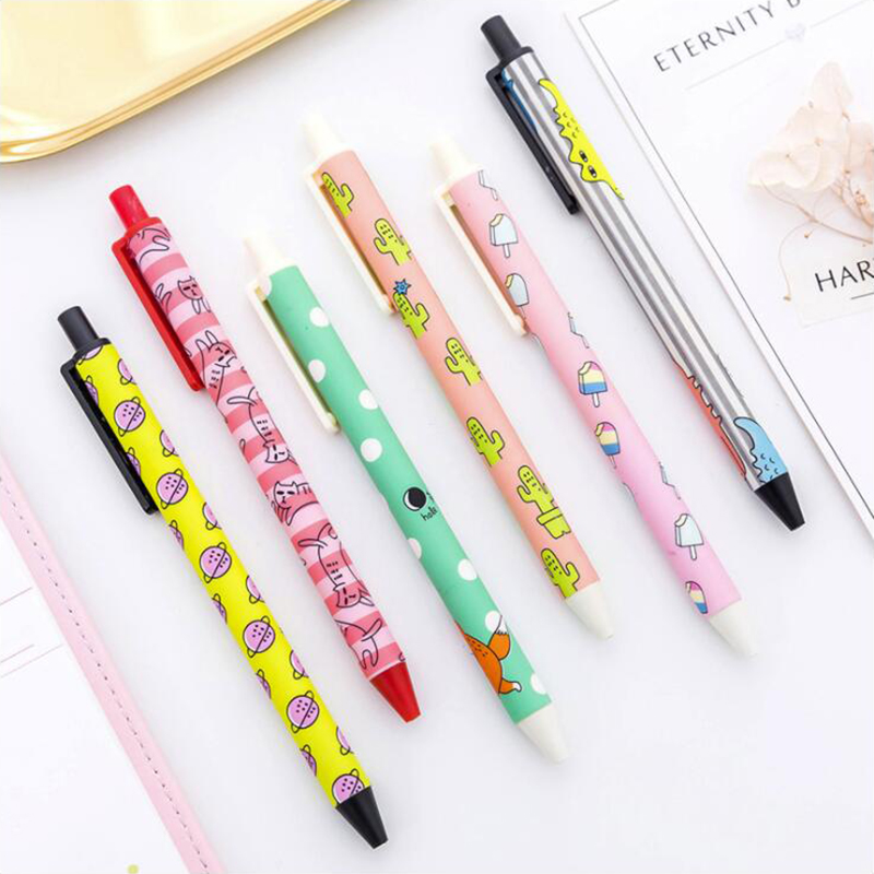 Colored Pattern Press Gel Pen DIY Office Stationery And School Supplies Smooth Writing Black Ink 0.38mm Pen 1PCS
