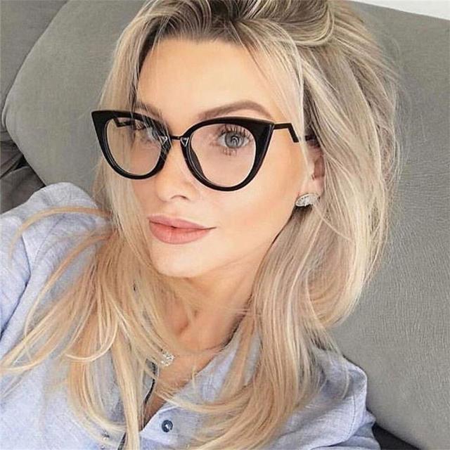 20a056406048f5 Rode brillen frame vrouwen mode Bril cat eye monturen bijziendheid nerd bril  vrouwelijke Bril eyewear Gebogen