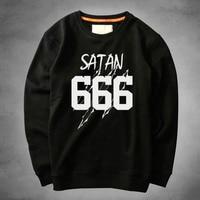 New Arrival Fashion Coat Winter Brand Mens Full Sleeve Thick sweatshir Cotton Hoodies Men SATAN 666 printed Sweatshirts