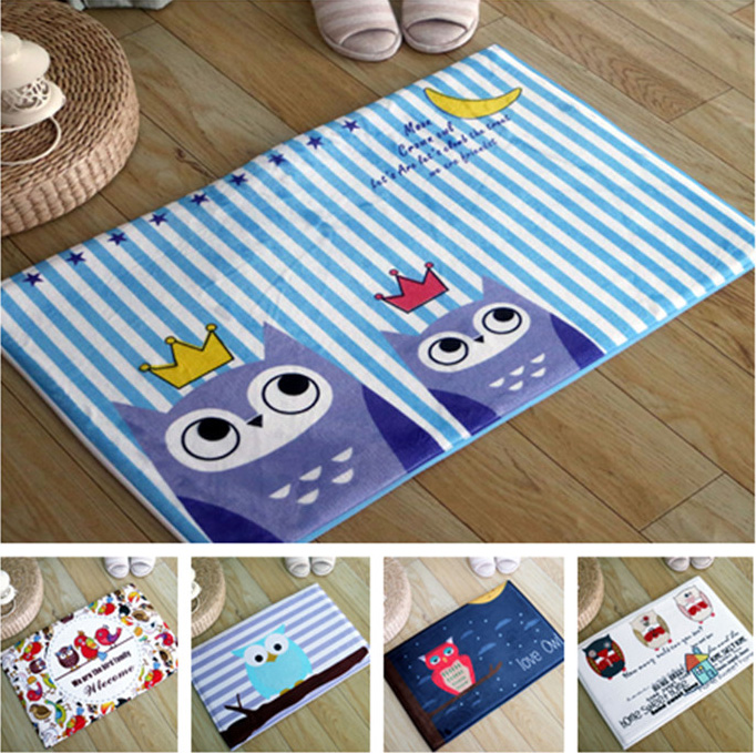 Cute Owl Entrance Doormat Area Rugs Bedroom Decor Floor Mat Bedside  Footcloth 5 Designs(China