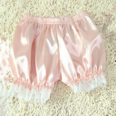 Kawaii Lolita Mori Girl Patchwork Lace Crochet Hem Elastic Waist Satin Silk Short Silky Sleep Bottom Home Tracksuit Pantalon