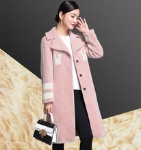 Ptslan  Winter-autumn Women's sheep  Fur Coat  women lamb fur  Casual  coat Outerwear High Quality