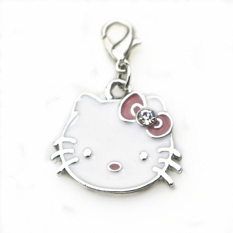 ca7411b7b70ff حار بيع 20 قطعة الوحدة المينا القط قلادة كريستال كيتي استرخى سحر مع مشبك  قفل ل سوار قلادة DIY مجوهرات