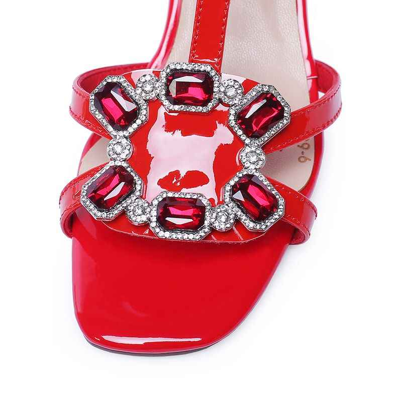 ASUMER 2019 עור אמיתי סנדלי נשים נעלי T-רצועת כיכר קריסטל עקבים גבוהים מסיבת נשות נעלי חתונה אדום לבן