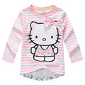 New 2016 Baby Girls T Shirt Kids Hello Kitty Long sleeve Tshirt Girls' autumn pink T-shirt