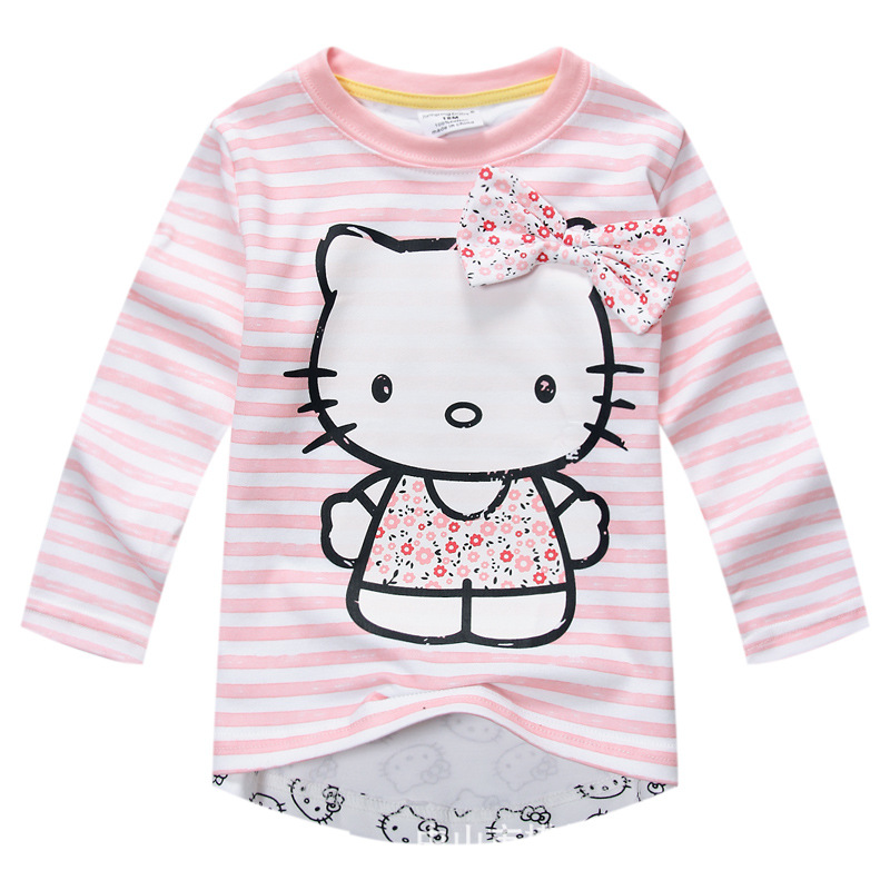 New 2017 Baby Girls T Shirt Kids Hello Kitty Long sleeve Tshirt Girls' autumn pink T-shirt