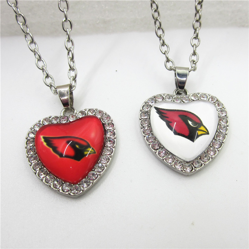 10pcs/lot Arizona Cardinals Necklace With 50cm Chains Necklace Jewelry Crystal Heart Amercia Football Sports pendants necklace