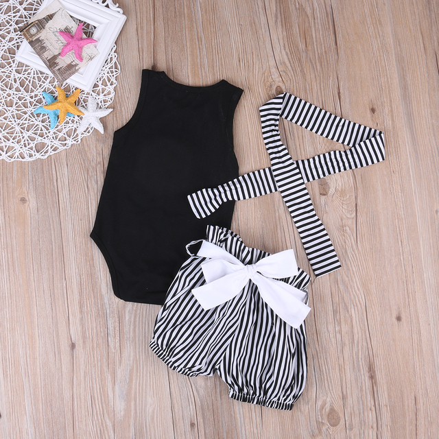 Baby Girl Clothing Sets Toddler Infant Girls Sleeveless Lips Romper T-shirt+Short Stripe Pants Headwear Kids Clothes Outfits 5
