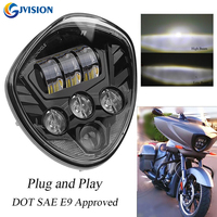 1PCS Black Motorcycle Assembly 60W Led Headlight for Victory Cross Country Cross Roads