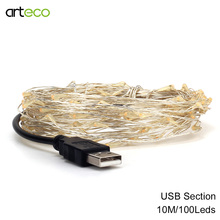 USB LED string Light 10M 100LEDs sliver wire string Fairy Light Party Wedding Holiday Christmas Decoration Light