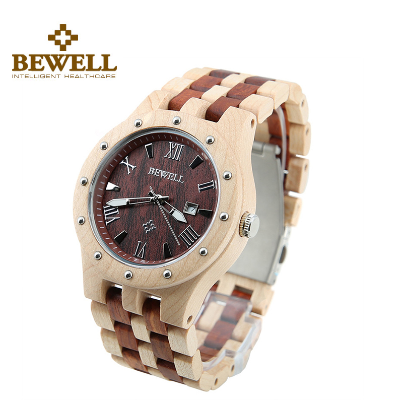 BEWELL Fashion Men Red Maple Sandalwood Wood Watch Date
