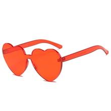 0fb268b09176a LUCKY LION Sunglasses Women Love Heart Shape Siamese Rimless Frame Tint