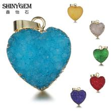 Wholesale  20176 New Fashion Gold Plating Heart Pendants Natural Druzy Drusy Pendant for Women Jewelry