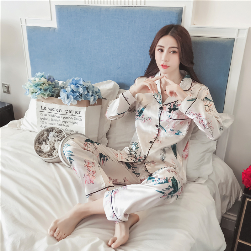 New Autumn Plus Size 5XL   Pajamas     sets   Women Homewear Sexy Underwear Pyjamas Silk Satin Long Sleeve Femme Sleepwear Nightwear