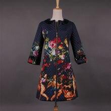 Зима пальто хлопок, женщины элегантный винтажный печать-бесплатная мягкий куртка дизайнер парки женское для D4673