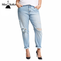 MissKoKo Plus Size New Fashion Women Clothing Casual Solid Broken Jeans Female Button Long Distressed Jeans 3XL 4XL 5XL 6XL
