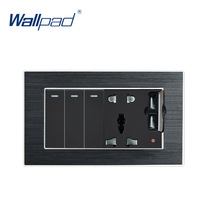 цена на 3 Gang 2 Way Switch With 5 Pin Socket 2 USB Charger Wallpad Luxury Wall Outlet Satin Metal Panel 146*86mm 5V 2400MA