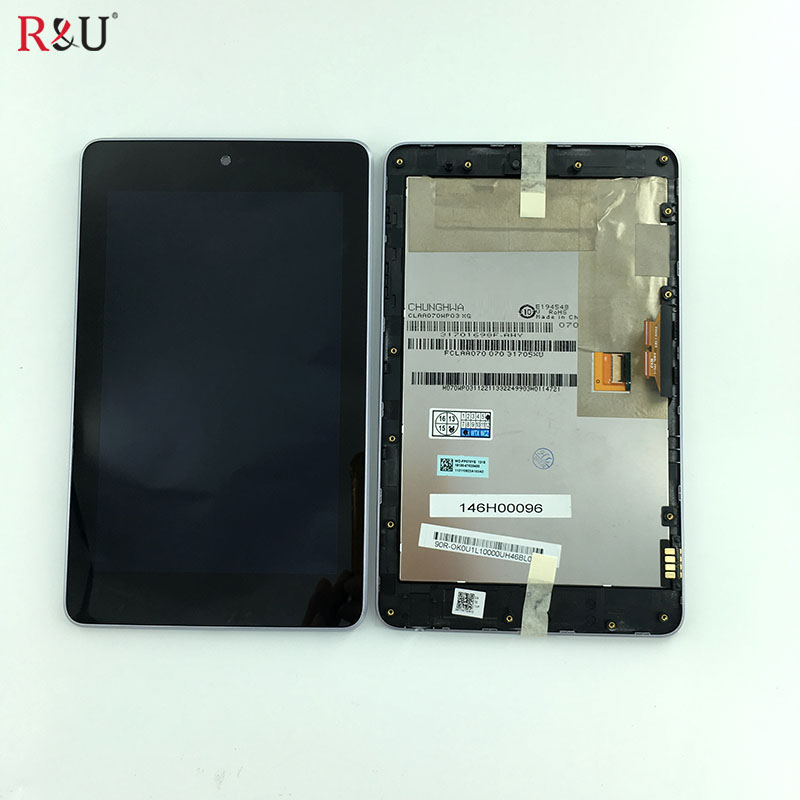 R&U 7inch LCD display+Touch Digitizer Screen assembly with frame for ASUS Google Nexus 7 nexus7 2012 ME370TG nexus7c 3G version free shipping for motorola google nexus 6 xt1100 xt1103 lcd display touch screen with frame assembly with free tools