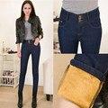 2016 New High Waist Jeans Women's 3 Buttons Denim Pencil Pants Winter Warm Gold Fleeces Thicken Trousers 26-34 P8102
