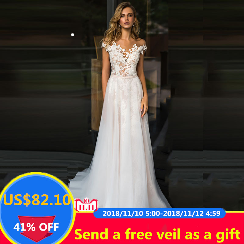 Lorie Beach Wedding Dress Lace Scoop A Line Liques Tulle Long Princess Vintage Bridal 2019 Custom Made Gown
