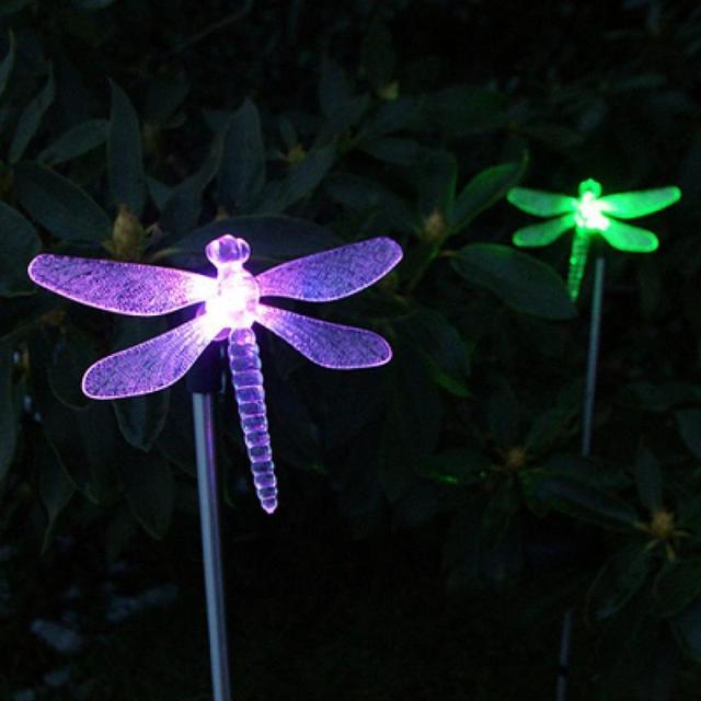 Color Changing Led Solar Dragonfly Stake Light Lamp Garden Lawn Landscape Ornament Animal Lighting
