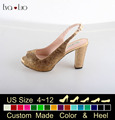 CHS637   Block Heel Women's Shoes Slingbacks  Wedding Shoes  Evening Dress Shoes Party Shoes Custom Made