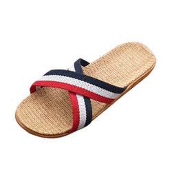 MIX2/женские летние тапочки, мужские Нескользящие льняные домашние летние туфли на плоской подошве с открытым носком