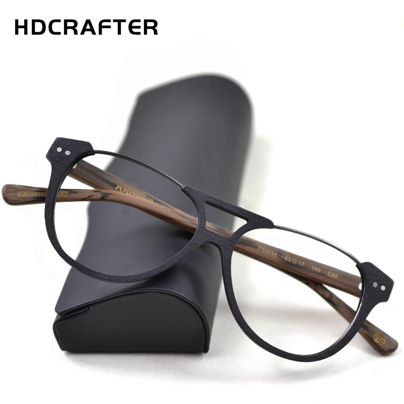 HDCRAFTER Prescription Eyeglasses Frames Men Myopia Glasses Frame Wood Grain Optical Glasses Frame For Women Spectacles Frame