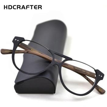 ab04a14863 Montura de gafas con receta HDCRAFTER montura de gafas de miopía para  hombres Marco de gafas ópticas de grano de madera para mujeres Marco de  gafas