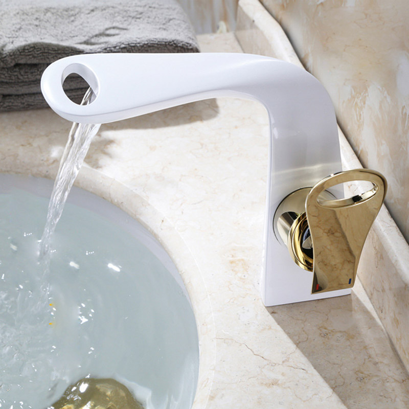 Black paint manufacturers selling sanitary ware all copper basin faucet Duplex waterfall basin faucets suits single hole