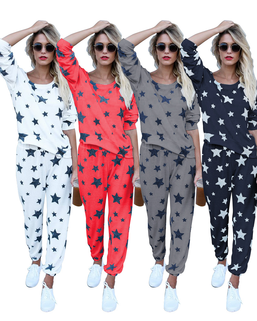 Women Casual Plus Size S-2XL Tracksuit 2 Pieces Suits Autumn Spring Long Sleeve Full Length Stars Print Jumpsuits White Red Gray