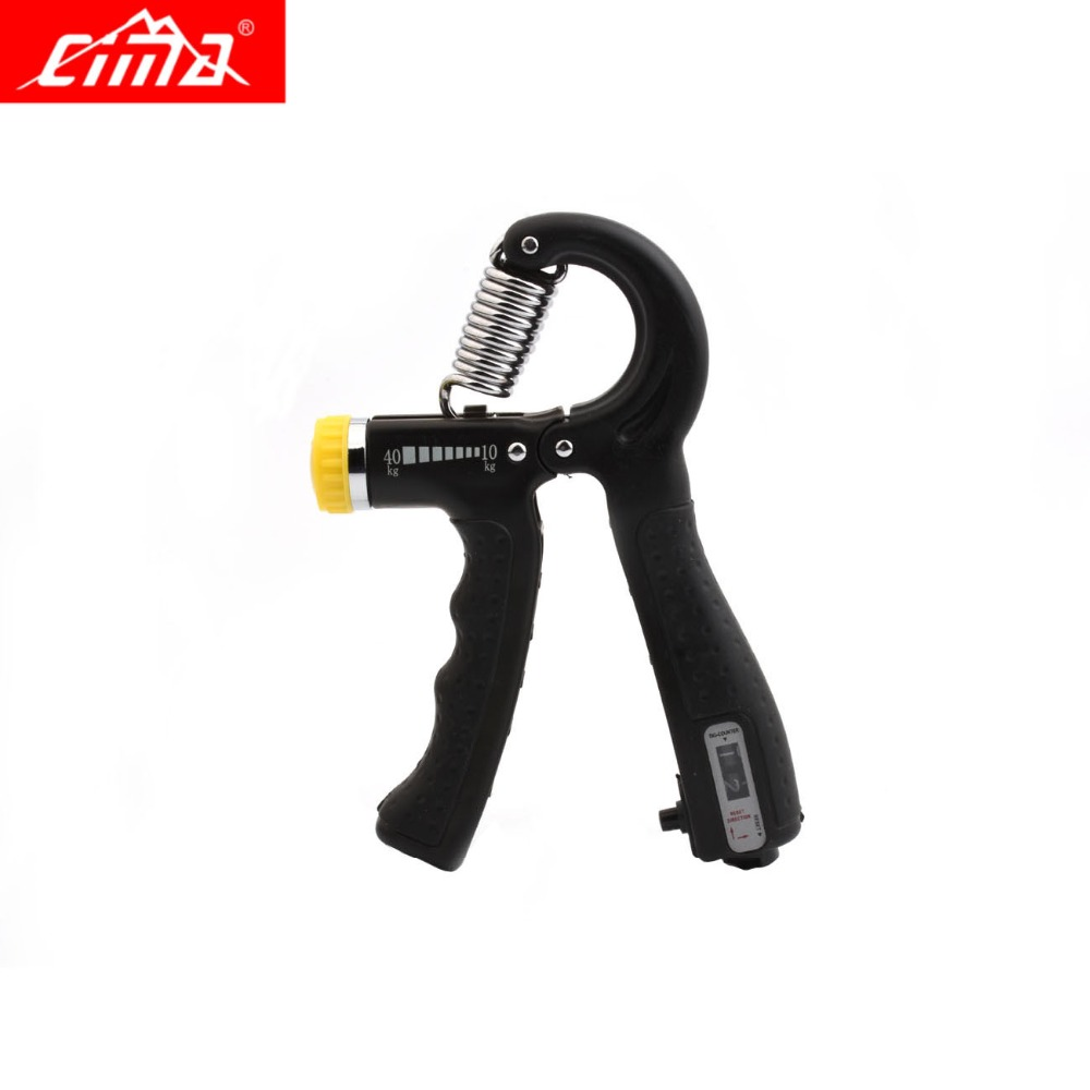 CIMA Adjustable Hand Grip Strengthener Counter Black Finger Gym Muscle Fitness Training Wrist Gripper Hand Exerciser 10-40KG