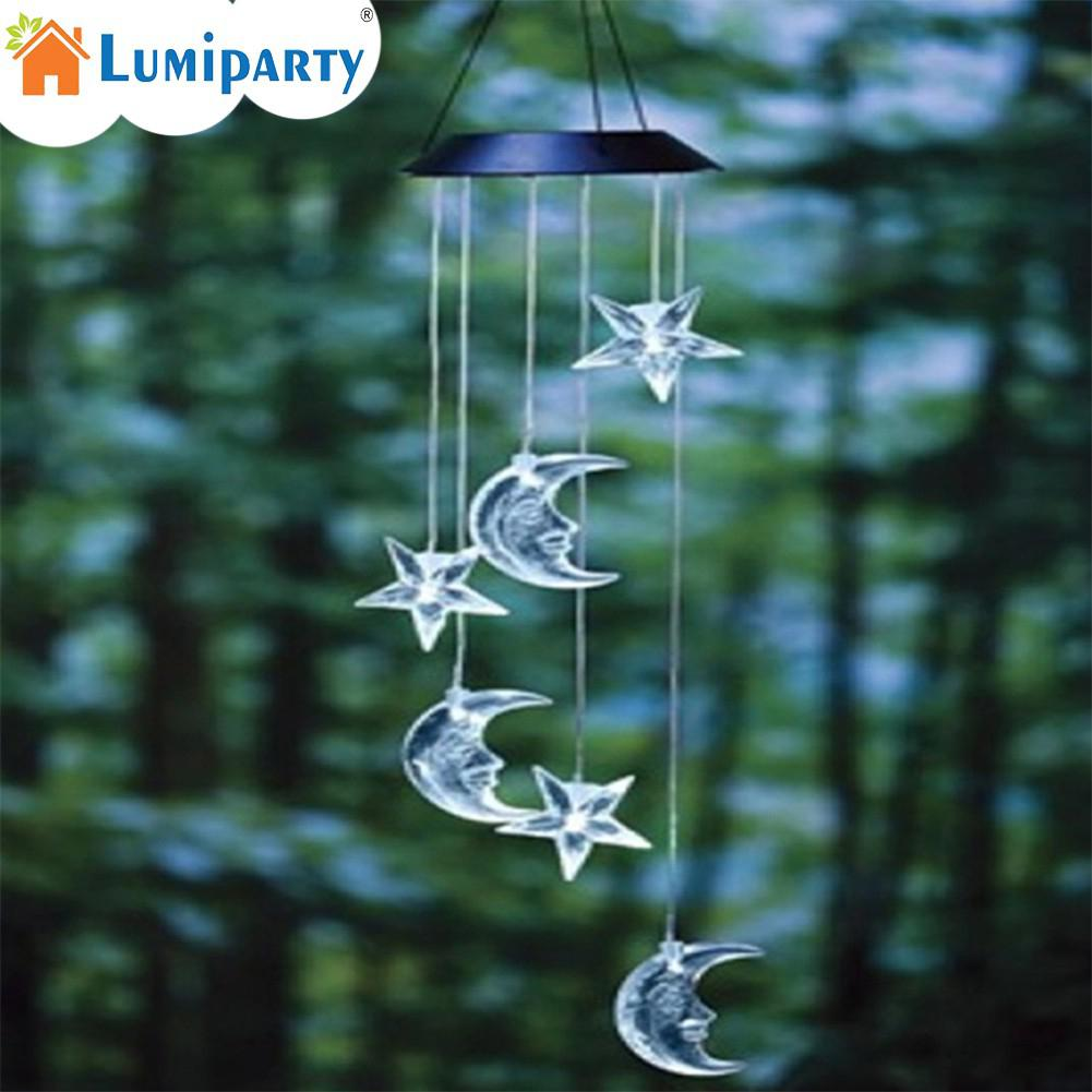 LumiParty Solar Mobile LED Light Color Changing Wind Chimes Star Moon Pendant Bell Yard Garden Home Decor