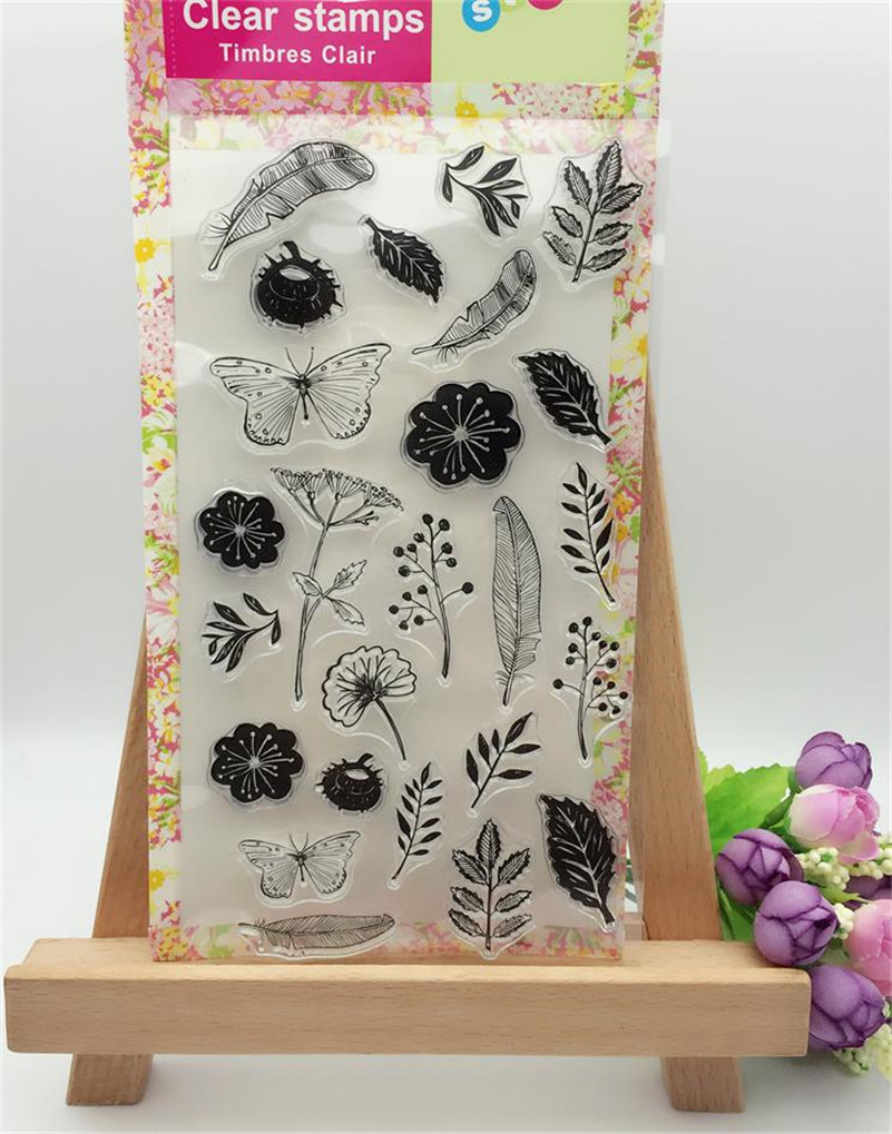 Scrapbook DIY photo card all kinds of trees leaves rubber clear stamp transparent stamp for photo album christmas gift LL-039 lovely animals and ballon design transparent clear silicone stamp for diy scrapbooking photo album clear stamp cl 278