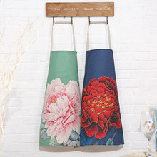 New 100% Cotton Antifouling Cleaning Apron Sleeveless Unisex Peony Letter Printed Cooking Aprons for Woman Men Kitchen Chef
