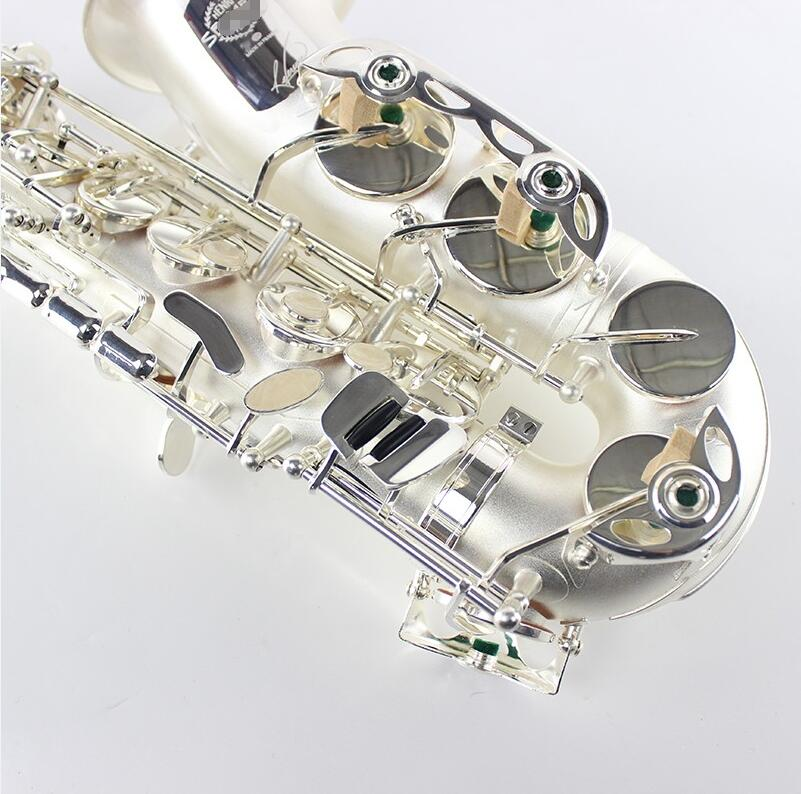 R54 Professional Concert Music Instrument Eb Tune Alto Saxophone E Flat Brass Silver Plated Pearl Buttons With Case,Mouthpiece brand new france selmer alto saxophone r54 professional e black white key sax mouthpiece with case and accessories