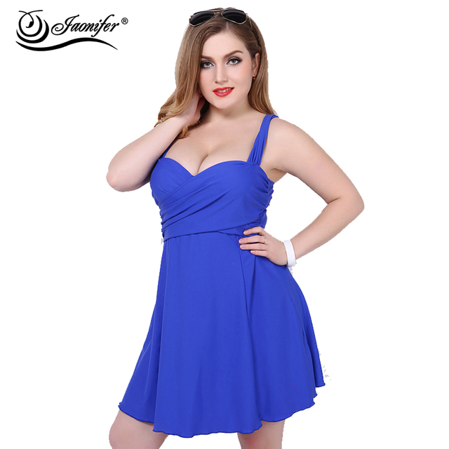 2018 Women Plus Size Swimwear Two Pieces Swimsuit Solid Swimming ...