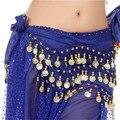 Mulheres Chiffon Belly Dance Hip Scarf Saia Cinto Cintura Cadeia 3 Linhas Moedas Envoltório Indiano Dança Saias 13 Cores 19