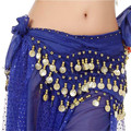 Women Chiffon Belly Dance Hip Scarf 3 Rows Coins Belt Skirt Waist Chain Wrap Indian Dance Skirts 13 Colors 19