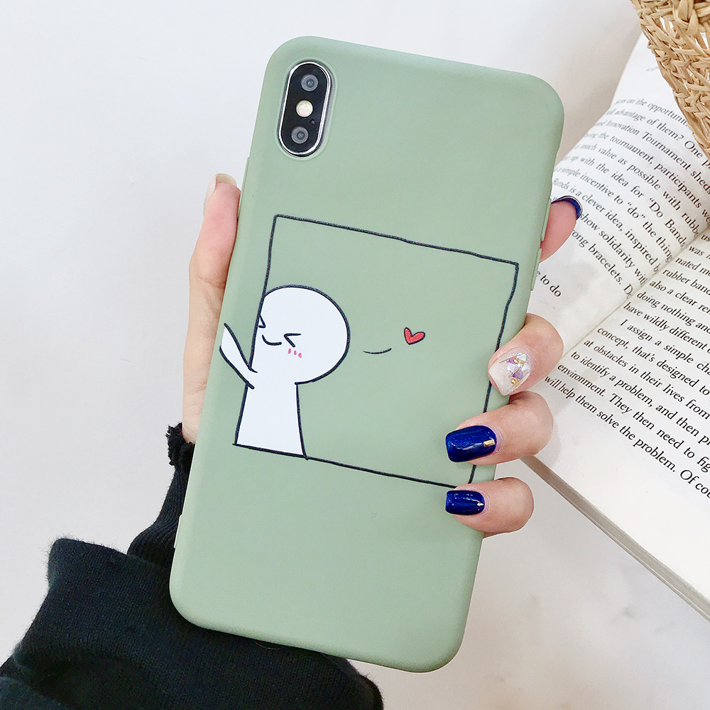 KIPX1076B_1_JONSNOW Couples Style Soft Case for iPhone 7 8 6S 6 Plus Silicone Case for iPhone X XR XS Max Cartoon Painted Back Cover