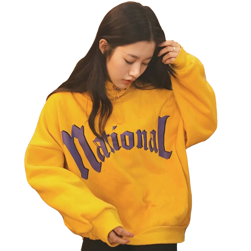 Fashion Womens Sweatshirts Harajuku Female Casual Letter Printed Loose Thickening Women Hoodies Plus Velvet Females Pullover Top