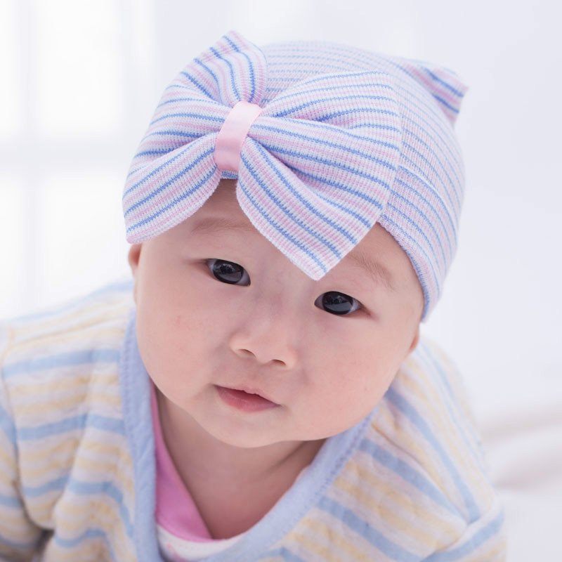 Baby Girls Infant Colorful Striped Cap Newborn Soft Beanie Hat with Bow Cotton Infant Striped Caps Baby Toddler Hat  Accessories