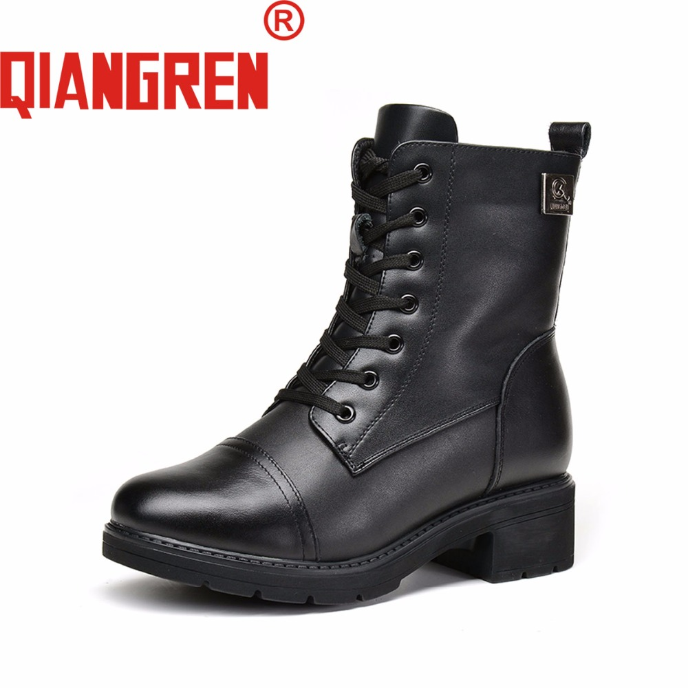 QAINGREN High-grade Quality Military Factory-direct Women's Winter Genuine Leather Wool Rubber Snow Boots High Heels Outdoors a low cost factory direct high grade high cycle life lithium polymer battery 801745