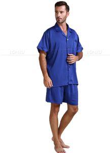 Image 4 - Męska jedwabna satynowa piżama piżama piżama krótki komplet bielizna nocna Loungewear U.S.S, M, L, XL, 2XL, 3XL, 4XL Solid _ _ 6 kolorów