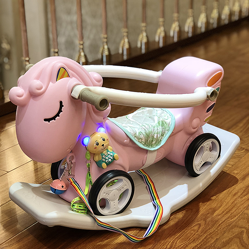 2 w 1 dzieci Rocking Horse pogrubienie plastikowe jeździć na zabawki dla zwierząt dziecko koń na biegunach z szelki bezpieczeństwa siedzenia muzyka bramkarz